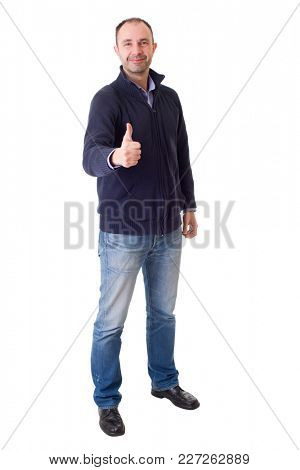 happy casual man full body, going thumb up, isolated in a white background