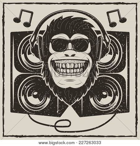 Funny Monkey In Sunglasses Listening To Music Vector Sketch Grunge Illustration. Cool Music Monkey W