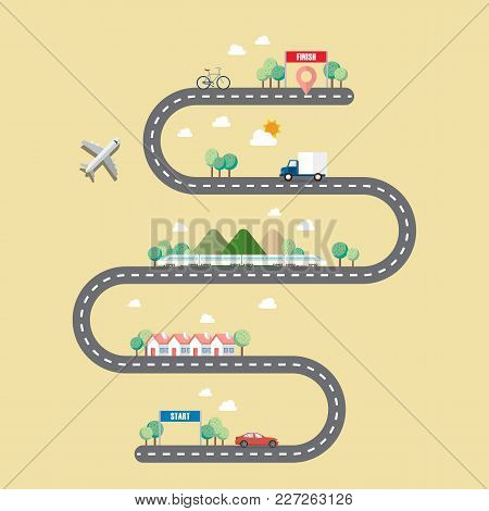 Mode Of Transportation With Town Road. Vector Illustration