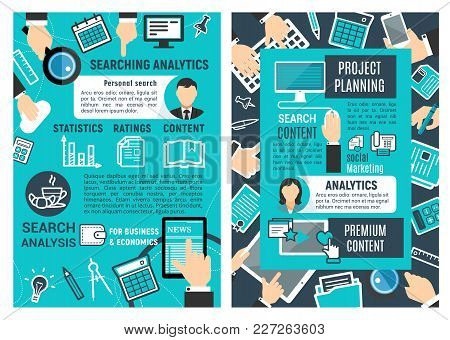 Serch And Analytic Infographic Design. Web Analytics Design, Statistics, Ratings And Content Concept