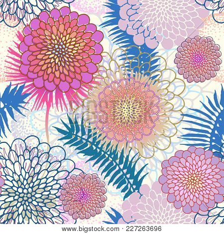 Tropical Leaves And Abstract Flowers Bright Seamless Pattern