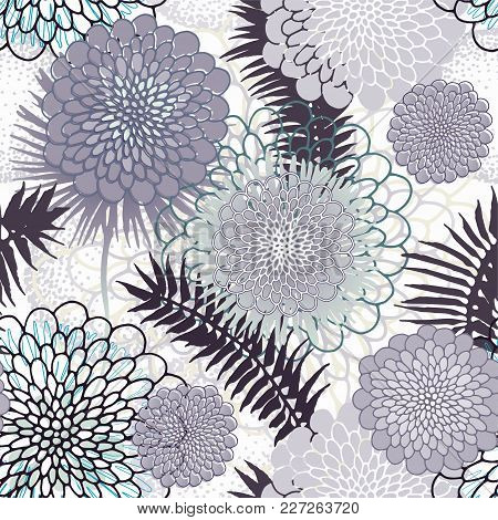 Tropical Leaves And Abstract Flowers Black And White Seamless Pattern