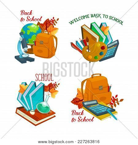 Back To School Icons Set Of School Bag, Globe Or Microscope And Chemistry Book Or Chalkboard. Vector