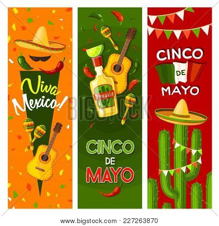 Cinco De Mayo Fiesta Party Greeting Banner For Mexican Holiday Celebration. Flag Of Mexico, Sombrero