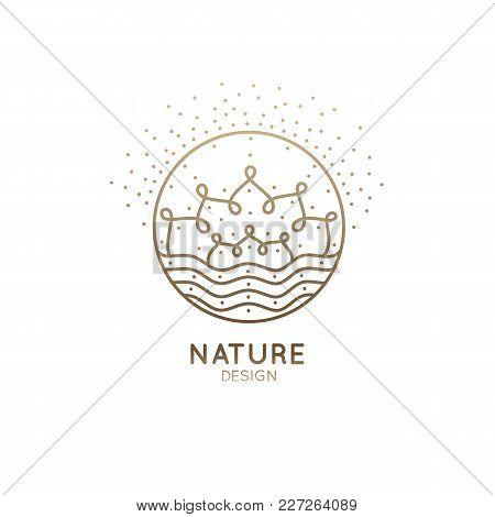 Vector Logo Of Floral Element. Flower Mandala Or Andscape. Linear Emblem For Design Of Natural Produ
