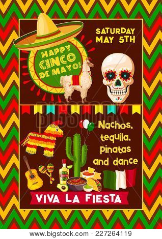 Cinco De Mayo Mexican Fiesta Party Poster Or Mexico National Holiday Celebration Greeting Card. Vect
