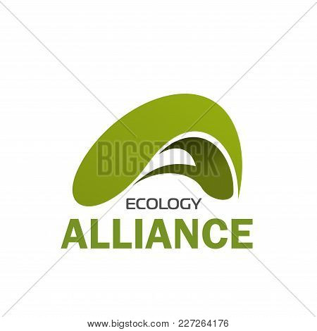 Abstract Eco Sign, Design For Ecology Company. Environmental And Nature Care Concept. Badge In Green