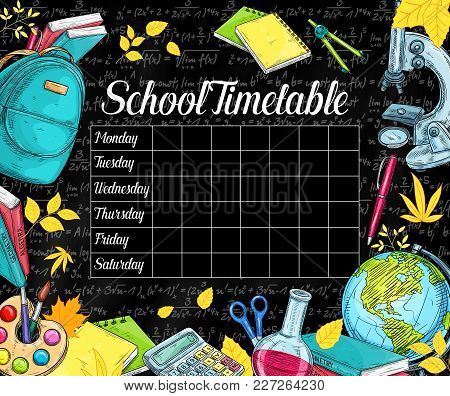 School Timetable Design On Black Chalkboard Or Blackboard Background. Vector Weekly Lesson Schedule