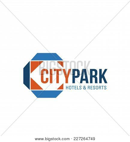 Blue And Orange Colors Logo For Resort Real Estate. Abstract Vector Logo Design For Hotels And Resor