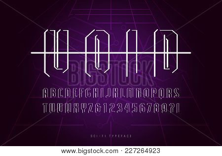 Decorative Sans Serif Font In Space Style. Letters And Numbers For Logo And Title Design. Print On D