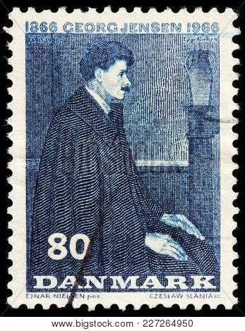 Luga, Russia - February 08, 2018: A Stamp Printed By Denmark Shows Image Portrait Of Famous Danish S