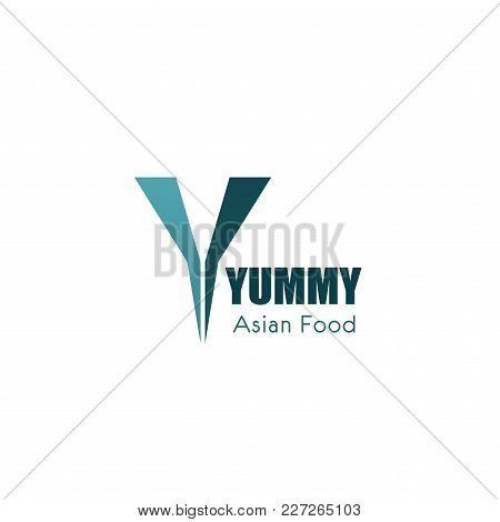 Yummy Asian Food Vector Logo. Vector Design For Asian Food Cafe Ar Restaurant. Cooking Logo In Blue