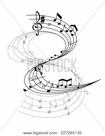 Music Notes On Scale Isolated Vector. Musical Design Elements In Black And White Colors. Various Mus