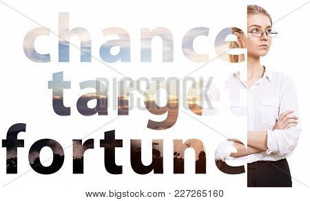 Motivation Business Poster With Big Words And Young Woman. Isolated On White.