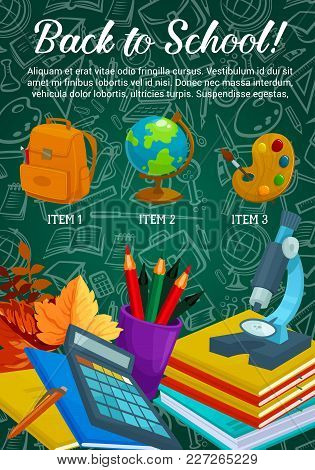 Back To School Sale Promo Offer Poster Or Web Banner Design Of Education Stationery And Lesson Suppl