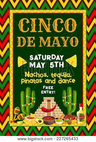 Cinco De Mayo Mexican Holiday Party Or Fiesta Invitation Entry Flyer Design Template. Vector Design