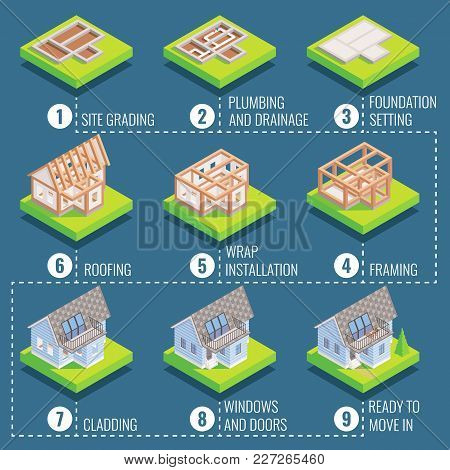 Cottage Construction Steps. Vector Isometric Illustration Of Site Grading, Plumbing And Drainage, Fo