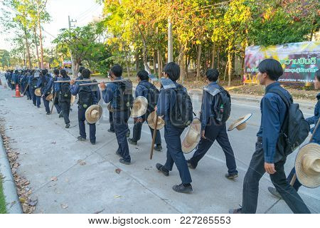 Chiang Mai Thailand - January 31 2018; Maejo University Male Agricultural  Students In Blue Uniform,