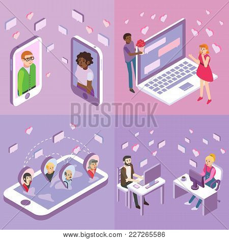Online Dating Vector Flat Isometric Poster, Banner Set. People Meeting One Another, Dating, Chatting