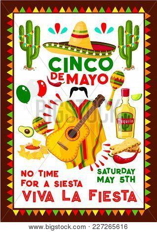 Cinco De Mayo Mexican Party Poster For Mexico National Holiday Celebration Fiesta. Vector Design Of