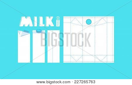Stock Vector Template Box For Milk. White Pack On Blue Background