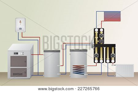 Solid Fuel And Electric Boiler In The Heating System. Vector Illustration. The Hvac Equipment. Hydra