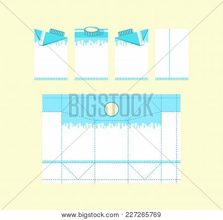 Stock Vector Template Box For Milk. Design With Splash Drawing