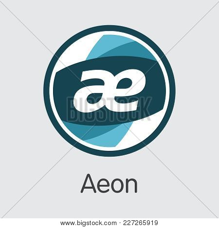 Aeon - Blockchain Cryptocurrency Concept. Colored Vector Icon Logo And Name Of Crypto Currency On Gr