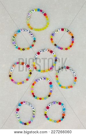 Bright Plastic Bracelets For Girls With Slogans
