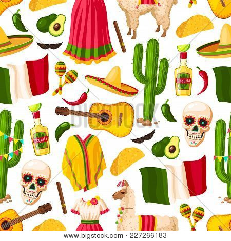 Cinco De Mayo Background With Mexican Holiday Symbols Seamless Pattern. Fiesta Party Sombrero, Peppe