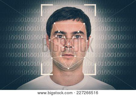 Man Face Recognition - Biometric Verification Concept - Retro Style