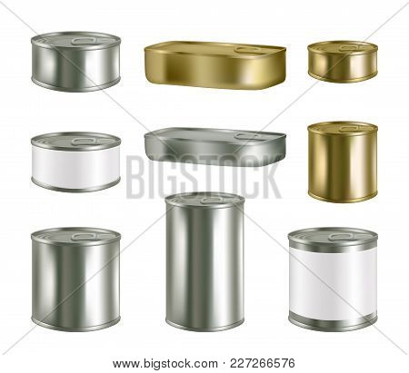 Vector Canned Food Realistic Package Mockup Set Isolated On White Background. Metal Tin Can Preserve