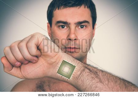 Bionic Microchip (processor) Inside Male Human Body - Future Technology And Cybernetics Concept - Re