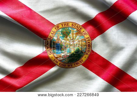 Fabric Texture Of The Florida Flag Background - Flags From The Usa