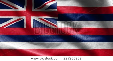 Us State Flag Of Hawaii - Waving Fabric Background, Wallpapers, Close-up