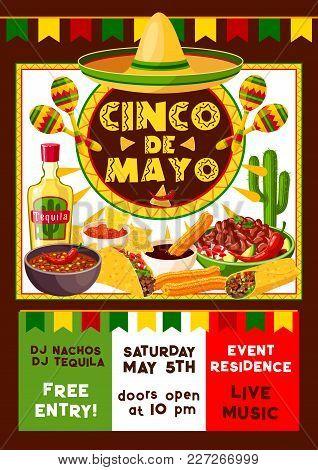 Cinco De Mayo Mexican Party Fiesta And Dance Or Music Celebration Flyer. Vector Invitation Poster De