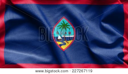 Fabric Texture Of The Guam Flag Background