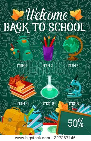 Welcome Back To School Sale Poster On Green Chalkboard Pattern. Vector School Bag, Book Or Paint Bru
