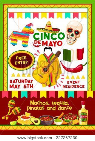 Cinco De Mayo Mexican Holiday Invitation Design Template For Party Fiesta. Vector Entry Flyer Of Mex