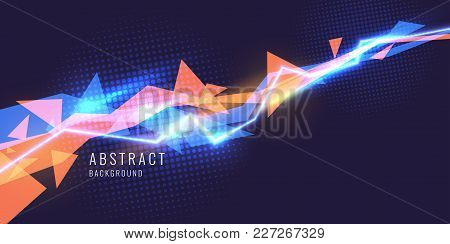Abstract Background With Neon Lines And Triangle. Vector Illustration.
