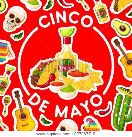 Cinco De Mayo Holiday Poster With Mexican Fiesta Party Food And Drink. Chili Pepper, Avocado Guacamo
