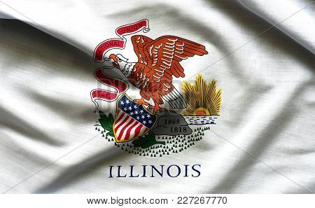 Fabric Texture Of The Illinois Flag Background - Flags From The Usa