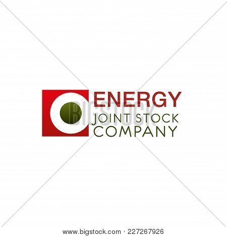 Creative Logo For Energy Joint Stock Company. Sing In Red And Green Colors Isolated On White Backgro