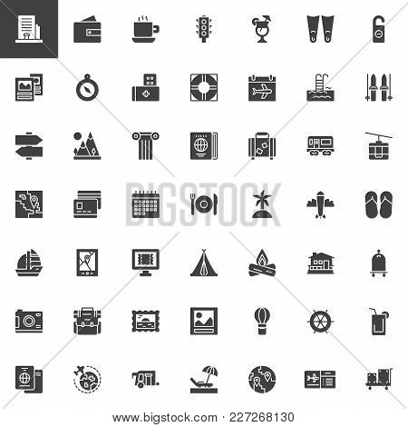 Travel Elements Vector Icons Set, Modern Solid Symbol Collection, Filled Style Pictogram Pack. Signs