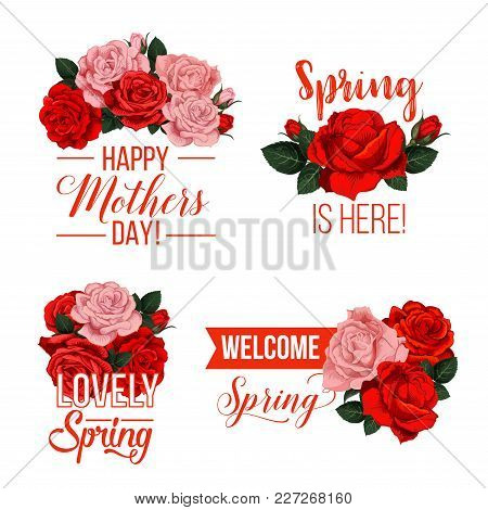 Mothers Day And Springtime Wishes Icons For Season Holiday Wishes. Vector Isolated Symbols Set Of Re