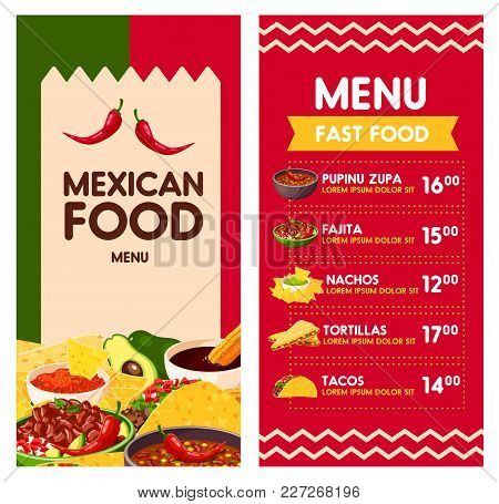 Cinco De Mayo Mexican Food Menu Template For Mexico Holiday Celebration. Vector Price Design For Mex