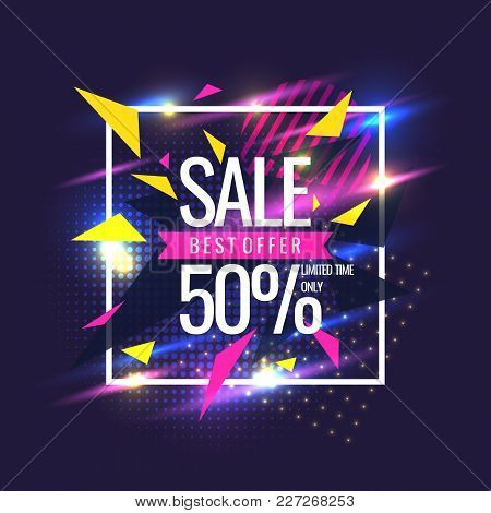 Best Sale Banner. Original Poster For Discount. Geometric Shapes And Neon Glow Against A Dark Backgr