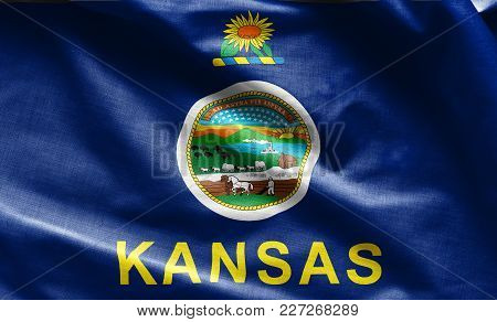 Fabric Texture Of The Kansas Flag Background - Flags From The Usa