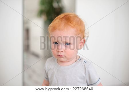 The Funny Curly-haired Redhead Boy Looks Wary