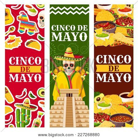 Cinco de mayo greeting banners vector photo bigstock cinco de mayo greeting banners for mexican holiday or fiesta party celebration of mexico flag and m4hsunfo
